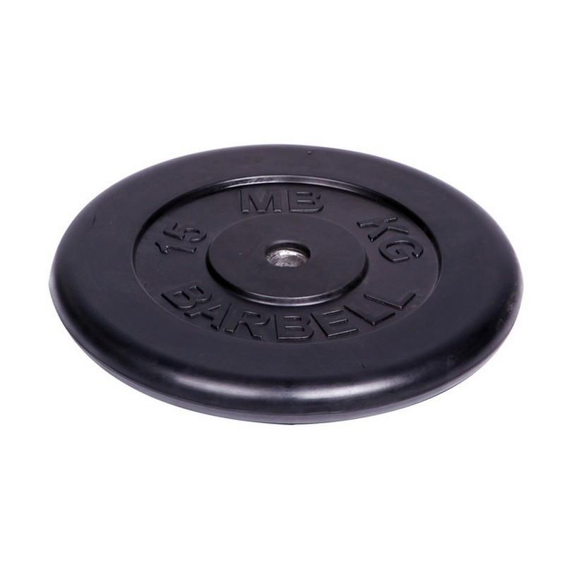 Диск обрезиненный d26мм MBBarbell MB-PltB26 15кг черный