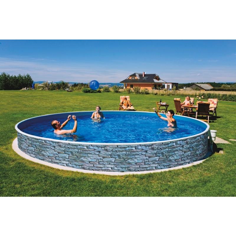Морозоустойчивый бассейн Azuro Stone круглый 4х1,2 м Premium
