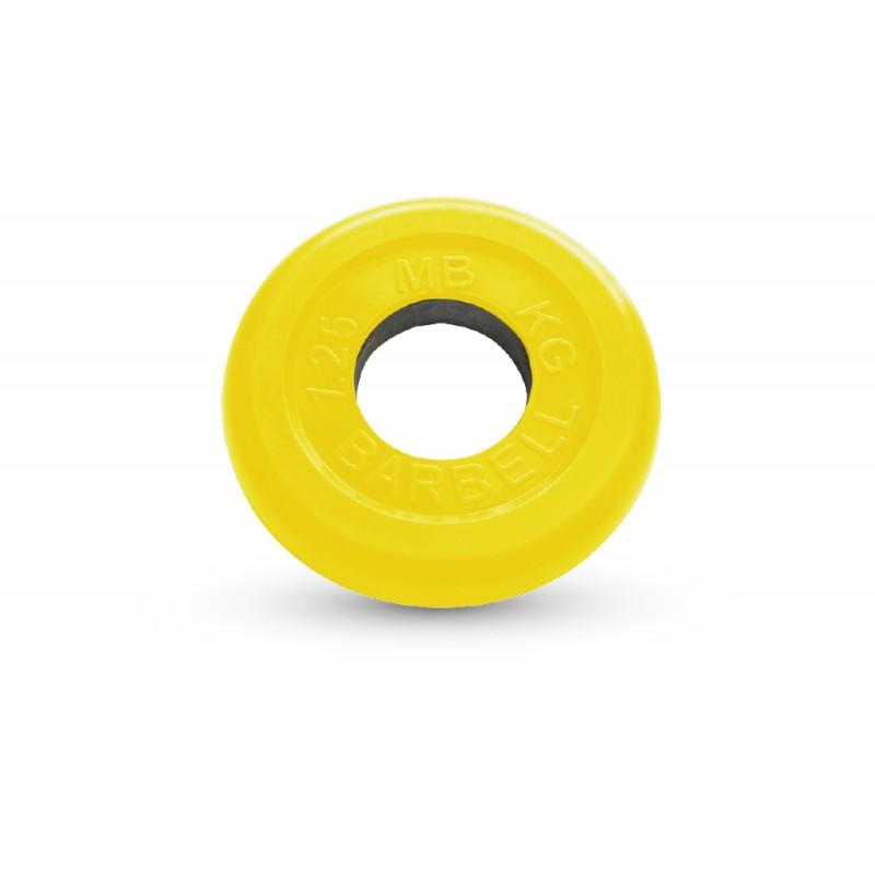 Диск обрезиненный d51мм MB Barbell MB-PltC51-1,25 1,25кг желтый