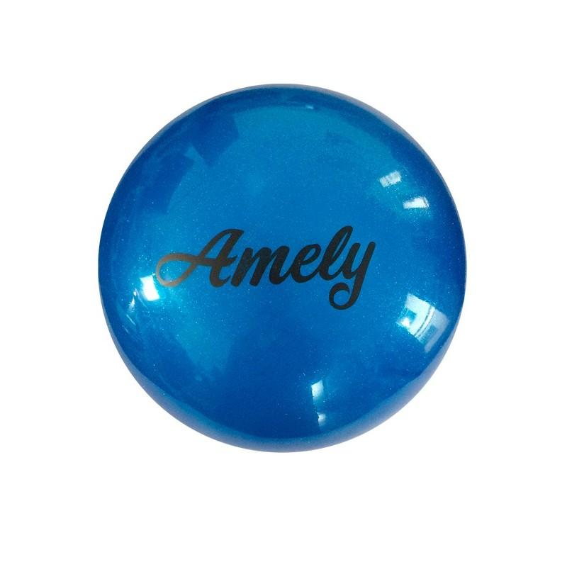 Мяч для художественной гимнастики Amely AGB-102 D=19 см, синий, с блестками