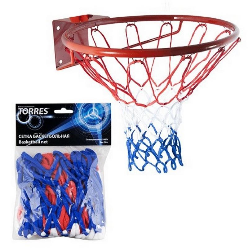 Сетка баскетбольная Torres SS11050 нить 4 мм полипропилен, ручная вязка, бело-сине-красная