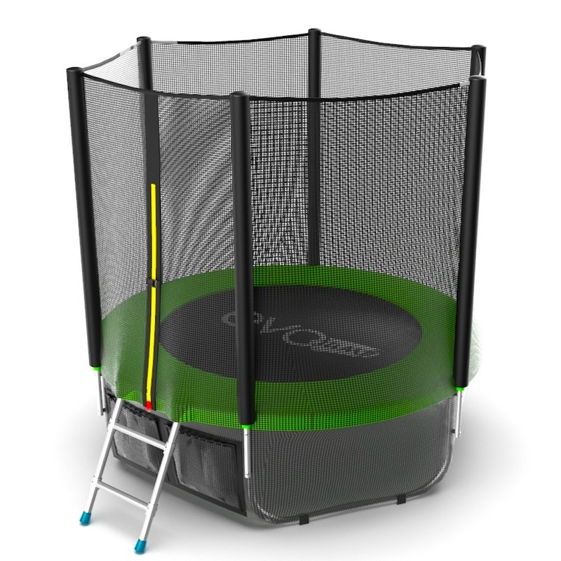 Батут с внешней сеткой и лестницей EVO Jump External 6ftt+ нижняя сеть, зеленый