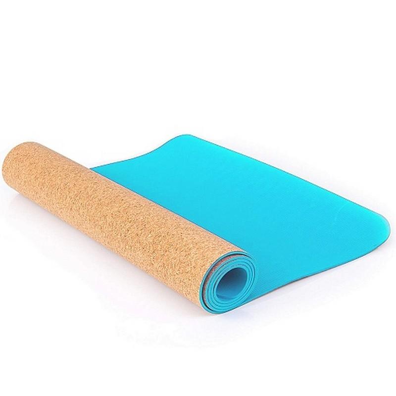 Коврик для фитнеса и йоги Larsen TPE+ пробка 173х61х0,4см двухцветный голубой\пробка
