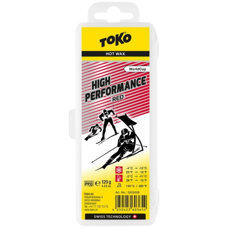 Парафин высокофтористый TOKO High Performance red (-4°С -12°С) 120 г.
