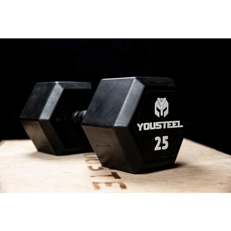 Гантель обрезиненная YouSteel HEX DB 22,5 кг