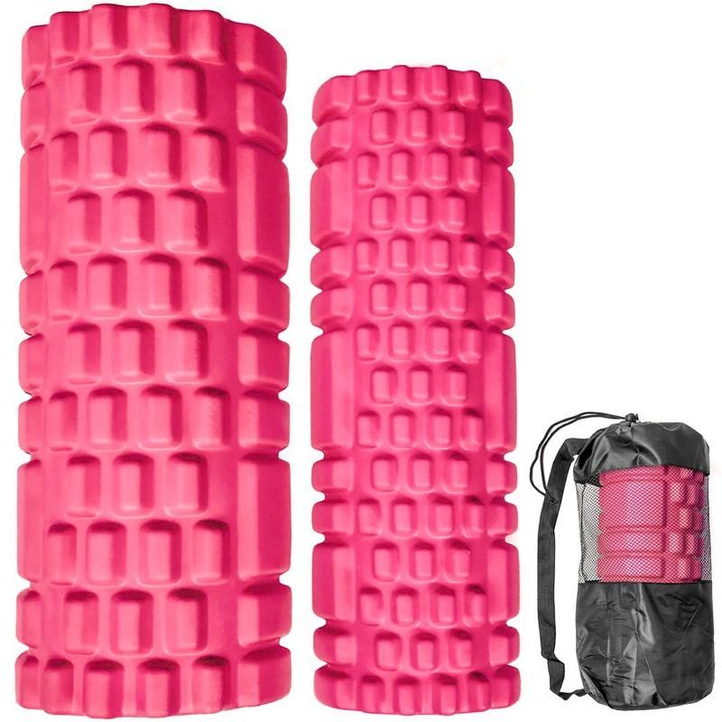 Комплект йога роликов 2 штуки 30х10 см, 33х14 см ЭВА\АБС B31263-1 розовый