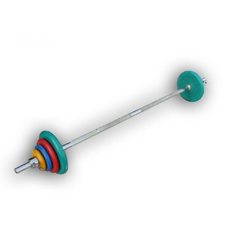 Штанга разборная, 50 кг в наборе, тренировочная, диски обрезиненные цветные, (гриф1900*30мм) ProfiGym ШТРц-50-26