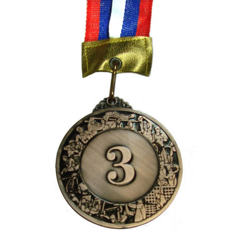 Медаль наградная 3-место большая (6,0x0,3см, с ленточкой триколор) No.96-3