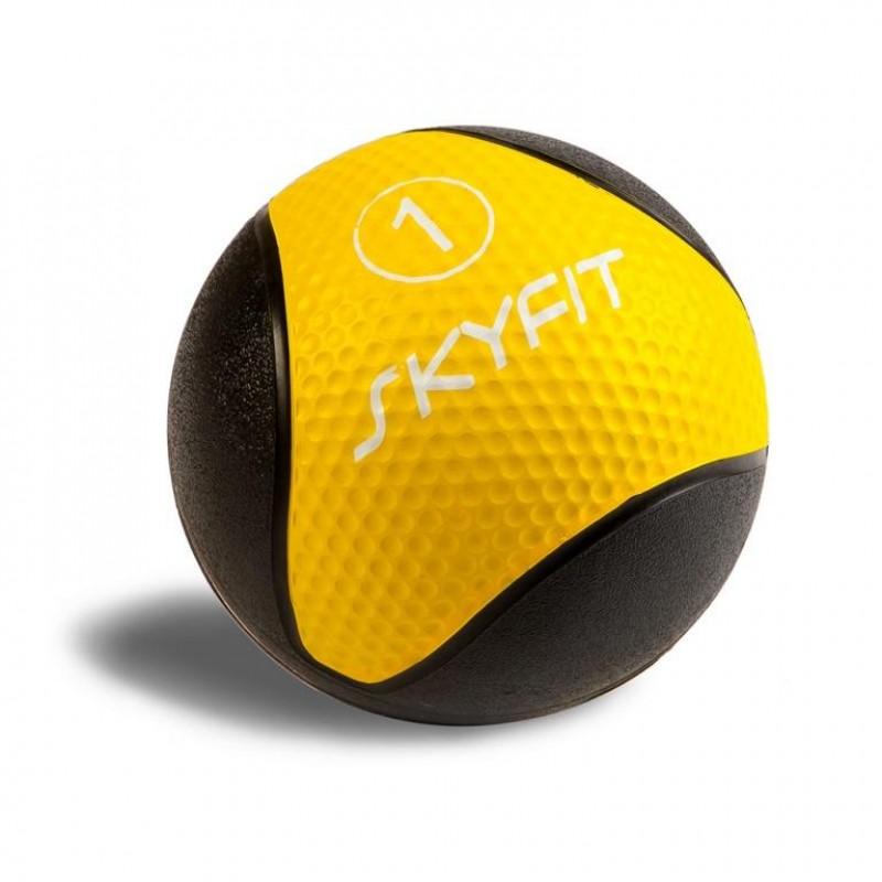 Медицинский мяч 1 кг SkyFit SF-MB1k черный-желтый