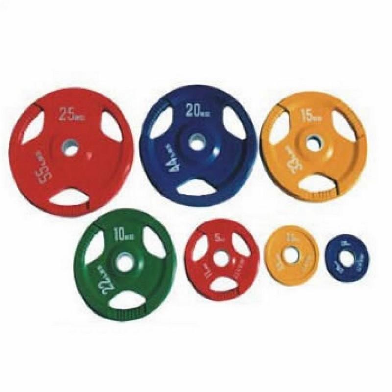 Диск олимпийский цветной с тремя отверстиями d51мм Alex DY-H-2012-15.0 кг желтый