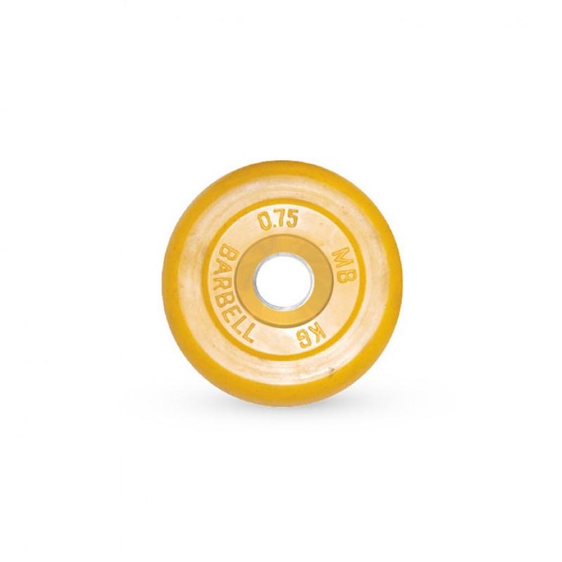 Диск обрезиненный MB Barbell жёлтый, D=31 мм, 0,75 кг MB-PltC31-0,75
