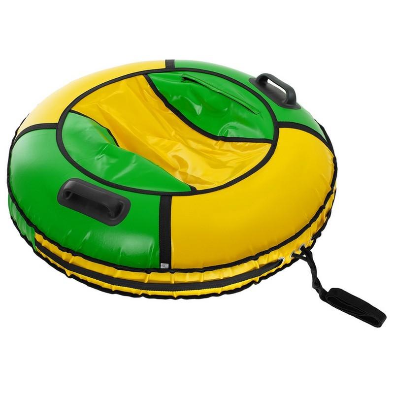 Надувная ватрушка (тюбинг) Комфорт d80см Polytube с автокамерой PT08081 зелено-желтый