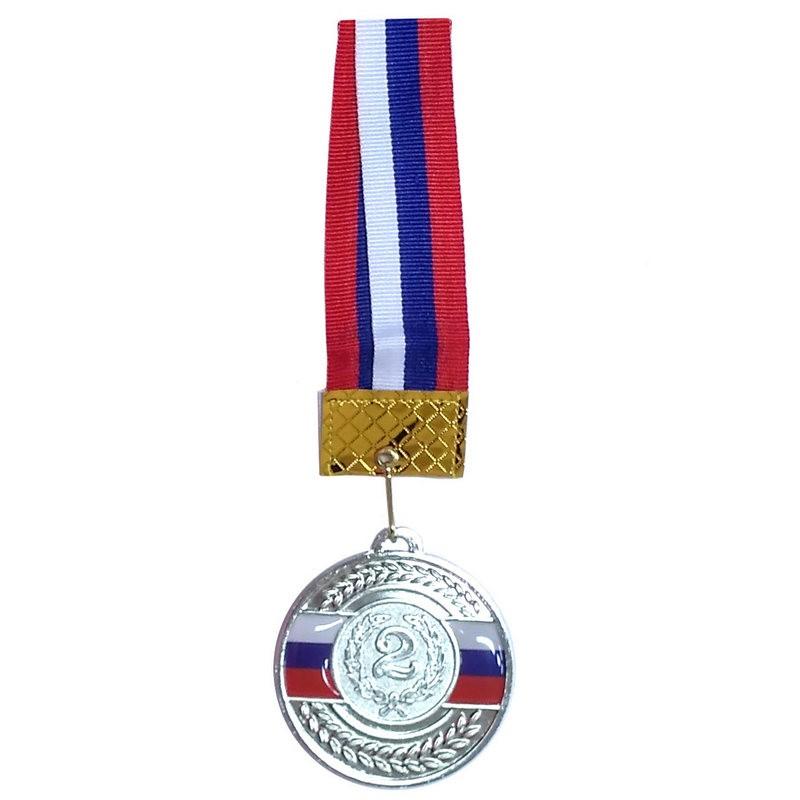 Медаль 2 место (d6,5 см, лента триколор в комплекте) F18521