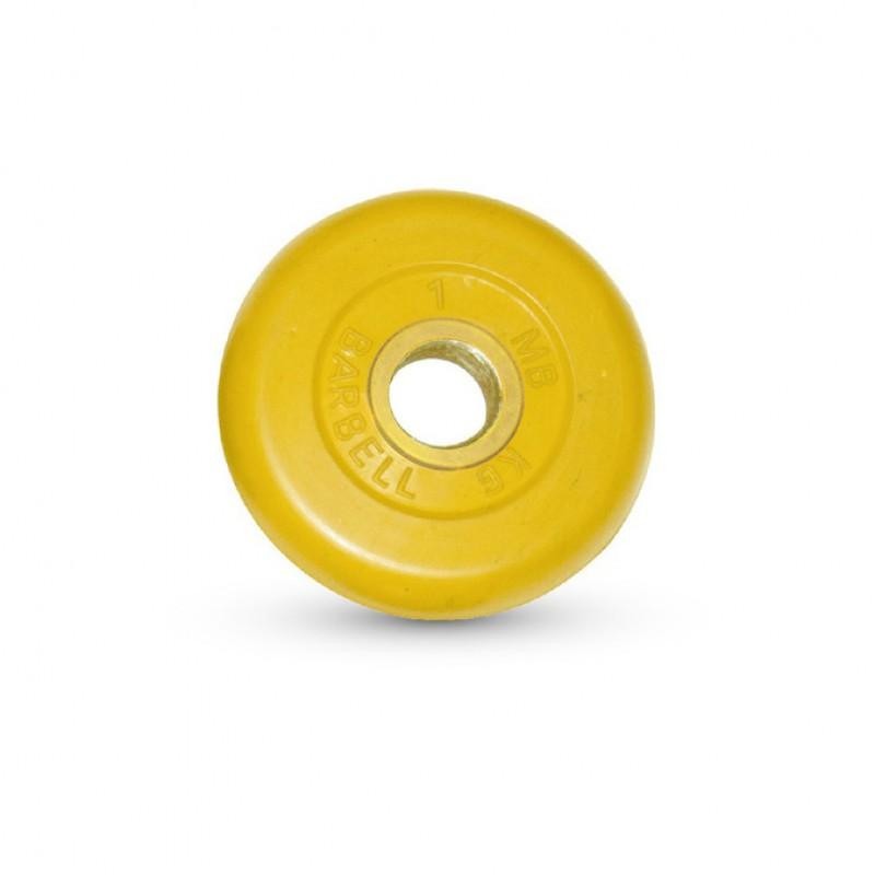 Диск обрезиненный MB Barbell жёлтый D=31 мм, 1 кг MB-PltC31-1