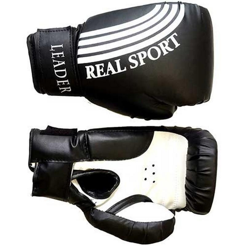 Боксерские перчатки Real Sport Leader черный 8 oz
