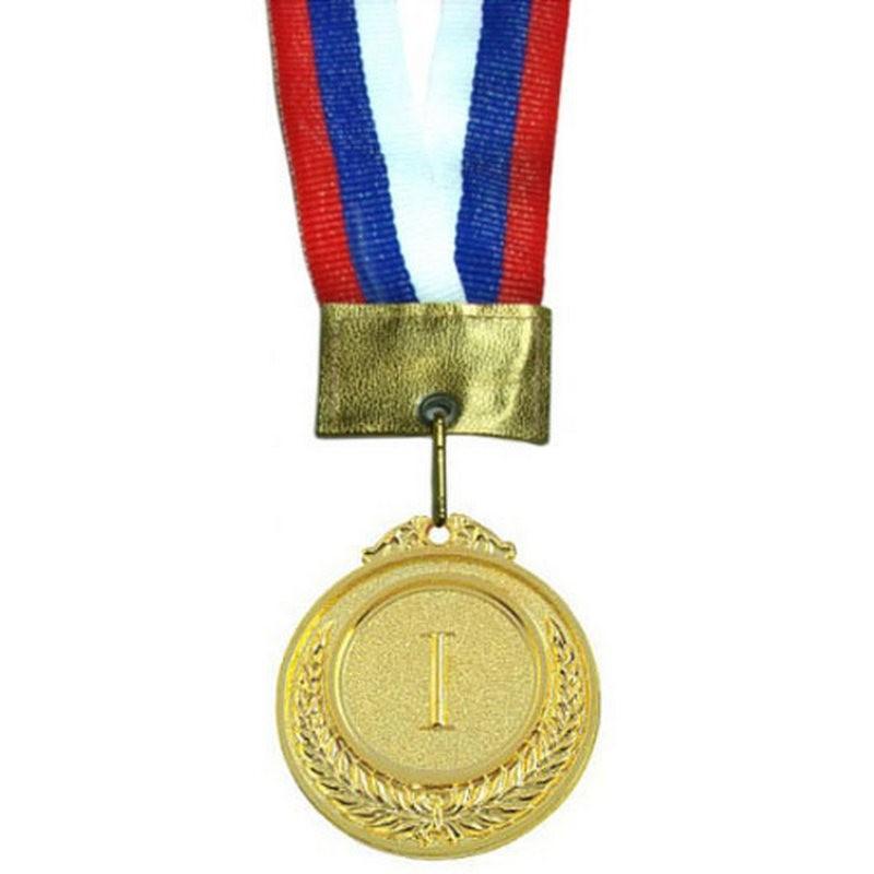 Медаль наградная малая 1-место (римские цифры) (5,3x0,3см, с ленточкой триколор) No.97-1