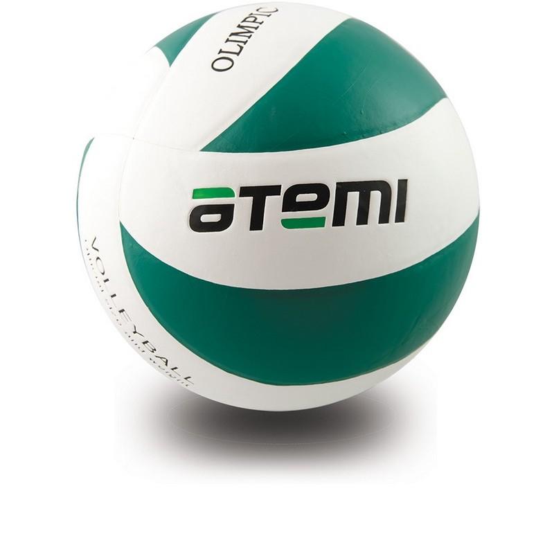 Мяч волейбольный Atemi Olimpic, синтетическая кожа PU зелено-белый р.5
