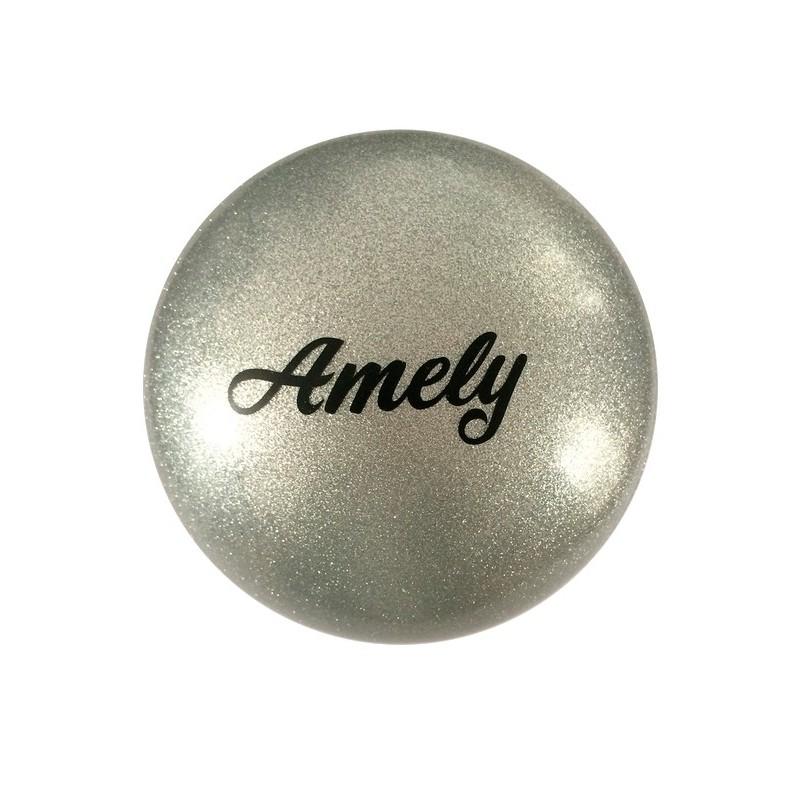 Мяч для художественной гимнастики Amely AGB-102 D=19 см, серый, с блестками