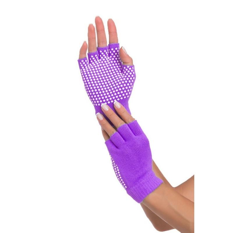 Перчатки противоскользящие для занятий йогой SF 0208 фиолетовый