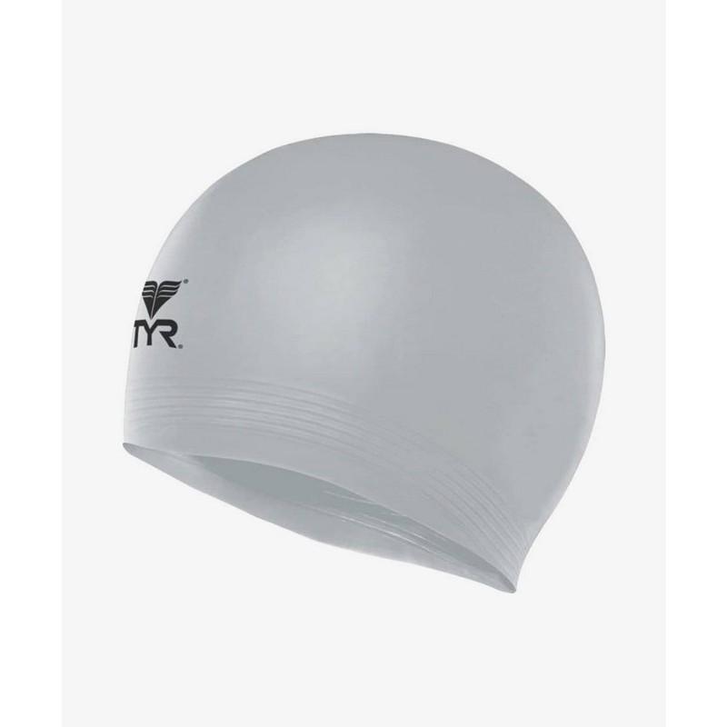 Шапочка плавательная TYR Latex Swim Cap, латекс, LCL/040 серебристый