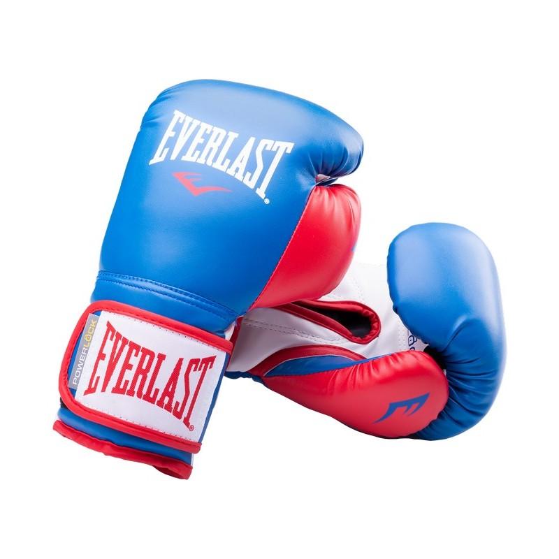 Перчатки боксерские Everlast Powerlock P00000727-10, 10oz, к/з, синий/красный