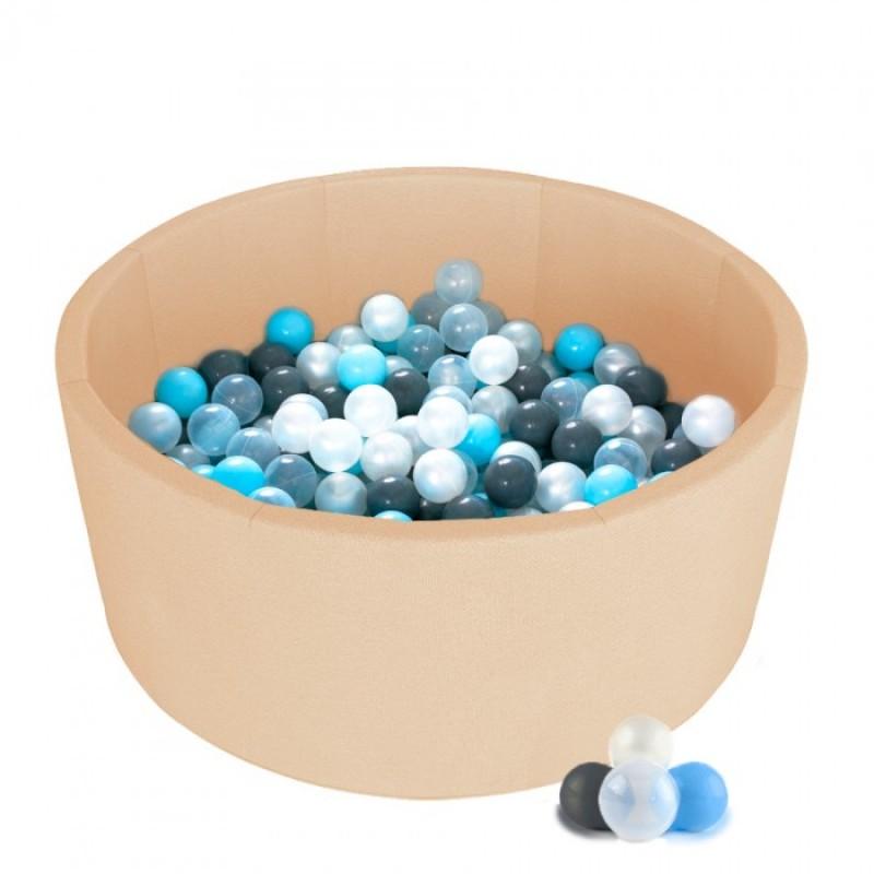 Детский сухой бассейн Kampfer Pretty Bubble (Бежевый + 300 шаров голубой/серый/жемчужный/прозрачный)