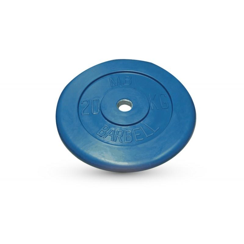 Диск обрезиненный d26мм MBBarbell MB-PltC26-20 20 кг синий