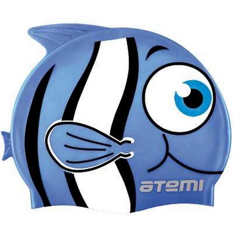Шапочка для плавания Atemi FC105 силикон, рыбка голубой