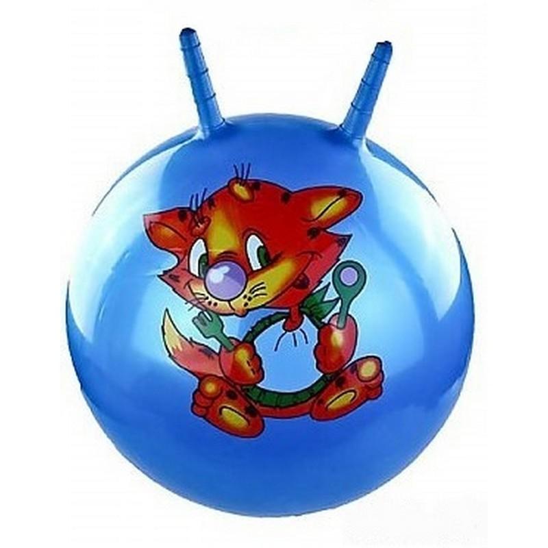 Мяч попрыгун с рожками T07481 55 см 3 цвета, с рисунком