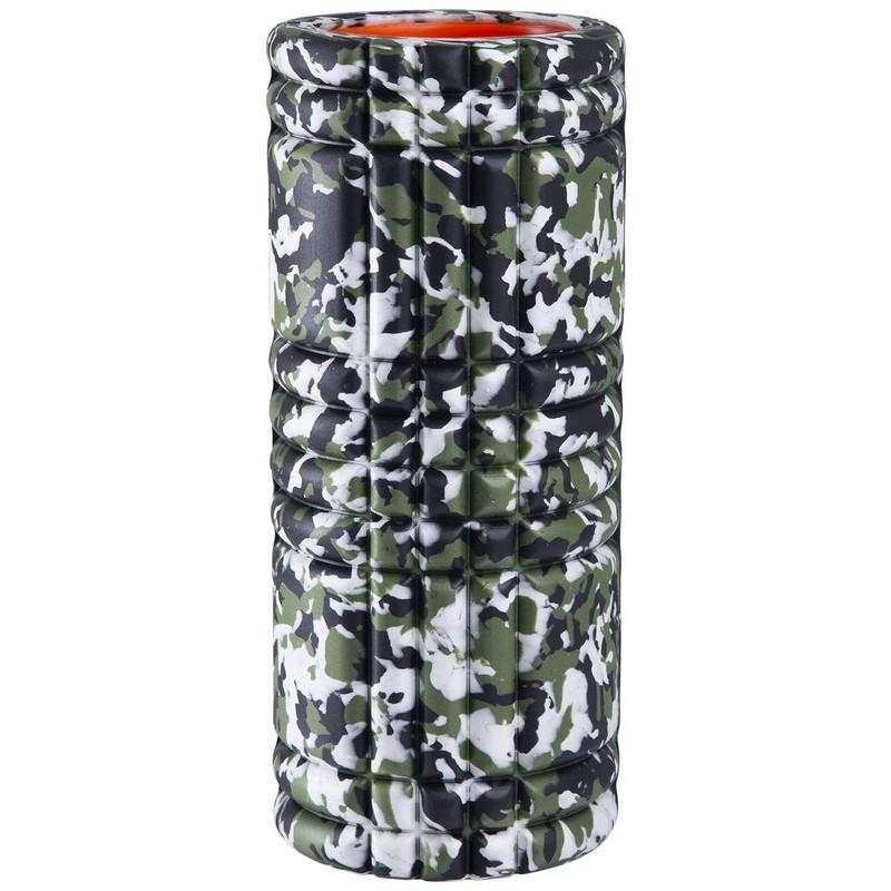 Ролик массажный Starfit FA-508, 33x14cм, зеленый камуфляж/оранжевый