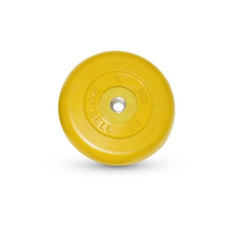 Диск обрезиненный MB Barbell жёлтый, D=26 мм, 1 кг MB-PltC26-1