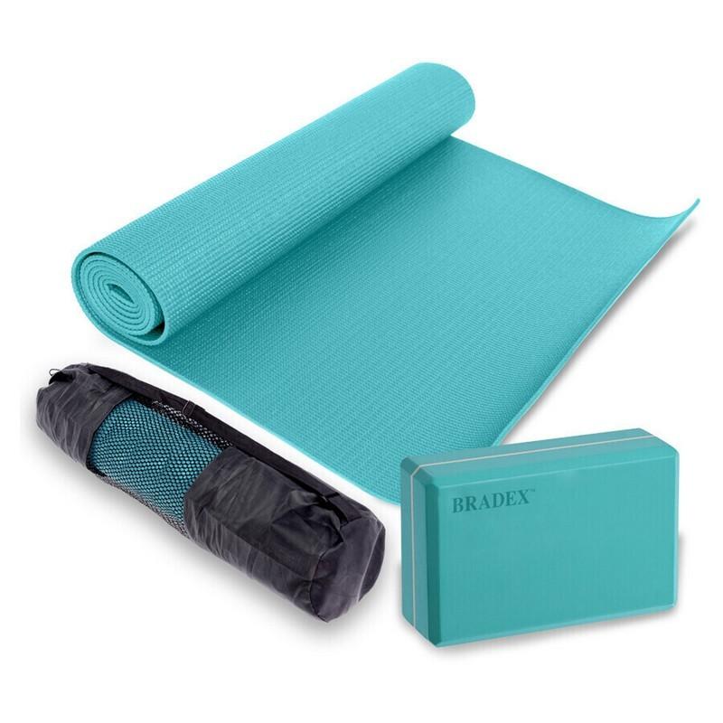 Коврик для йоги 173x61x0,3 см, блок для йоги и чехол Bradex SF 0807 бирюзовый