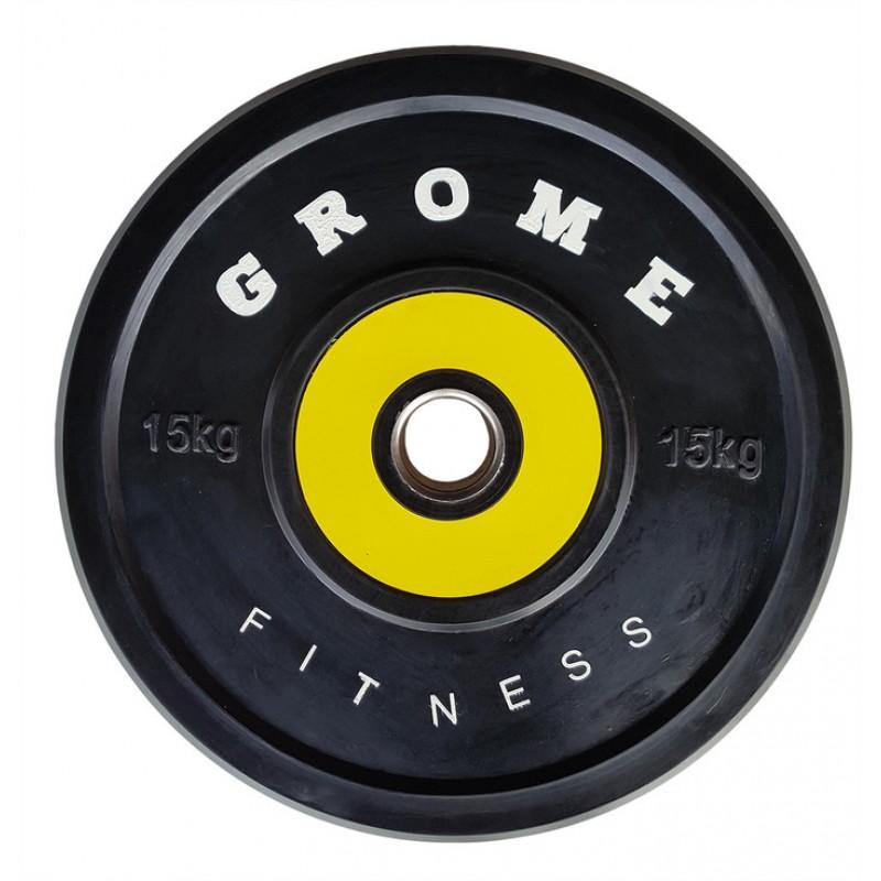 Диск обрезиненный Grome Fitness WP-080 15кг