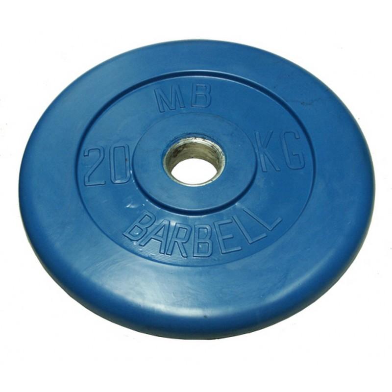 Диск обрезиненный d31мм MBBarbell MB-PltC31-20 20 кг синий