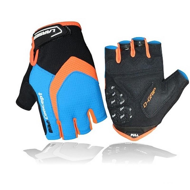 Велоперчатки Larsen 01-2822 голубой/оранжевый