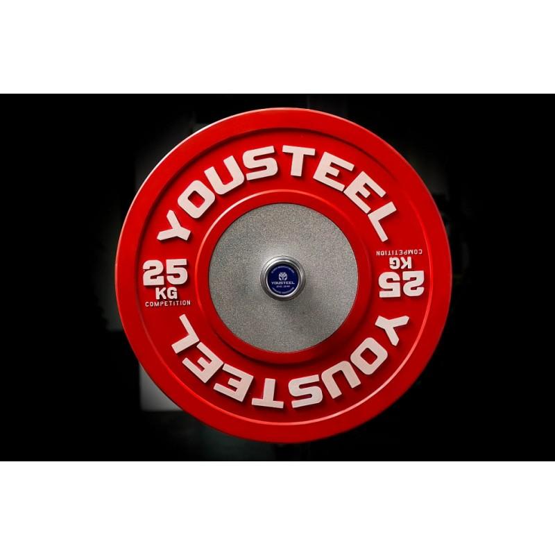 Диск 25кг каучуковый соревновательный YouSteel красный