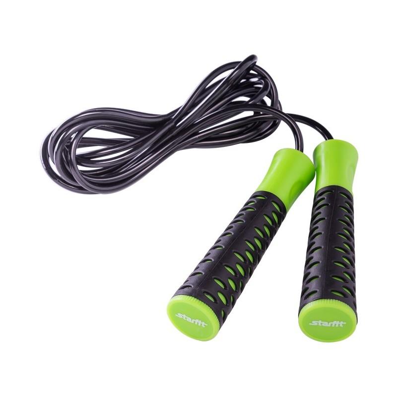 Скакалка Starfit RP-103 ПВХ, с нескользящей ручкой, 3,05 м, черная/зеленая
