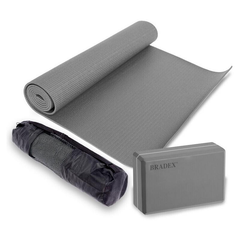 Коврик для йоги 183x61x0,5 см., блок для йоги и чехол Bradex SF 0811 серый