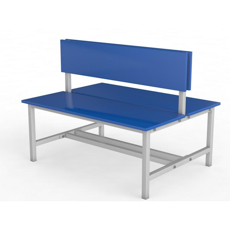 Скамейка для раздевалки со спинкой. Двухсторонняя. Настил ЛДСП Glav 10.800-1500 150см