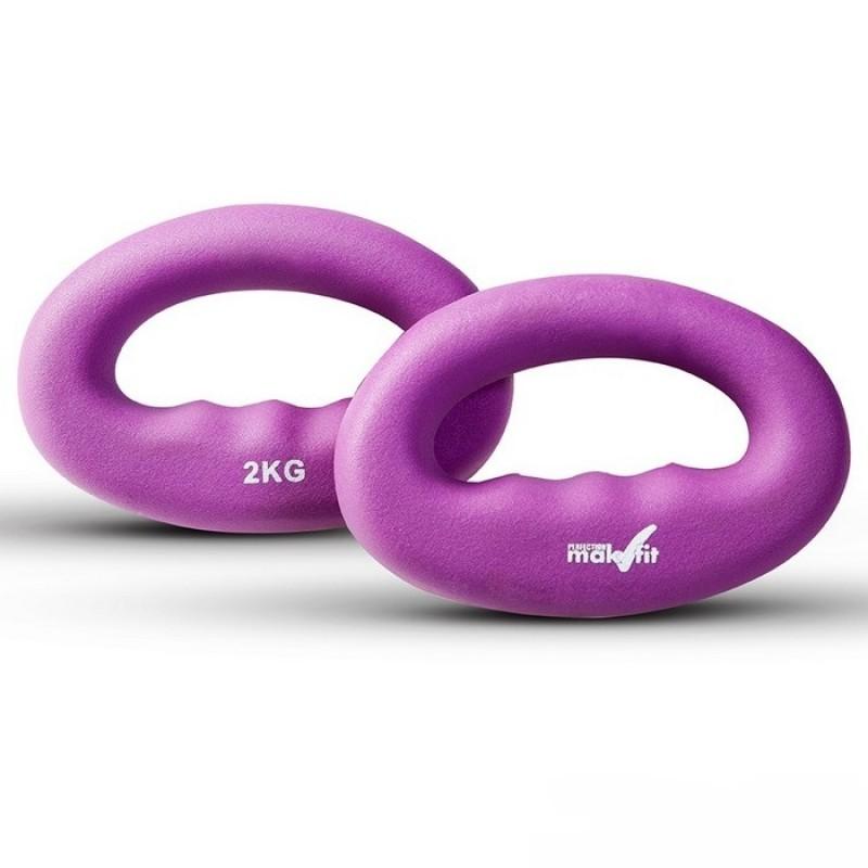Гантели для кросфита Makfit 2 кг фиолетовый MAK-DC2k (штука)