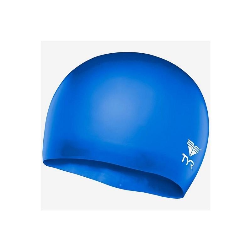 Шапочка плавательная TYR Wrinkle Free Junior Silicone Cap, силикон, LCSJR\428 голубой