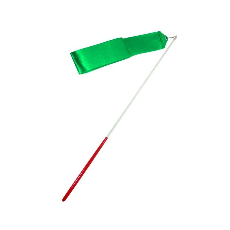 Лента для художественной гимнастики Amely AGR-201 4 м, с палочкой 46 см, зеленый