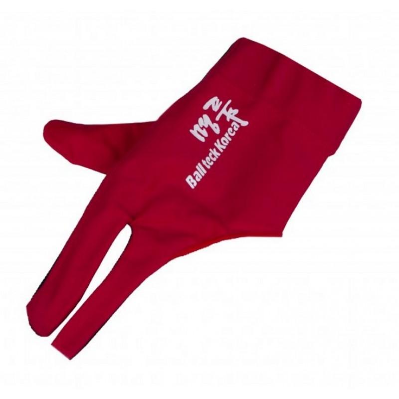 Перчатка бильярдная Ball Teck MFO (черно-красная, вставка замша), защита от скольжения 45.251.03.3