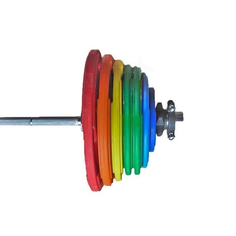 Штанга тренировочная 265 кг V-Sport в комплекте с обрезиненными цветными дисками (Гриф 2200мм, ? 50мм)