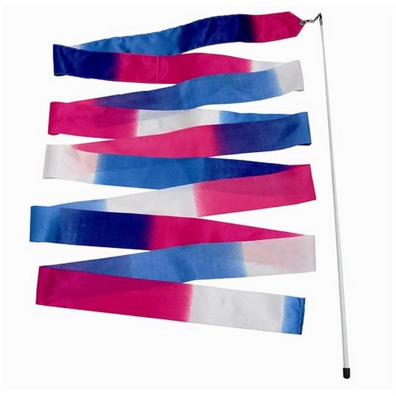 Лента гимнастическая l6м A236 белая\розовая\голубая