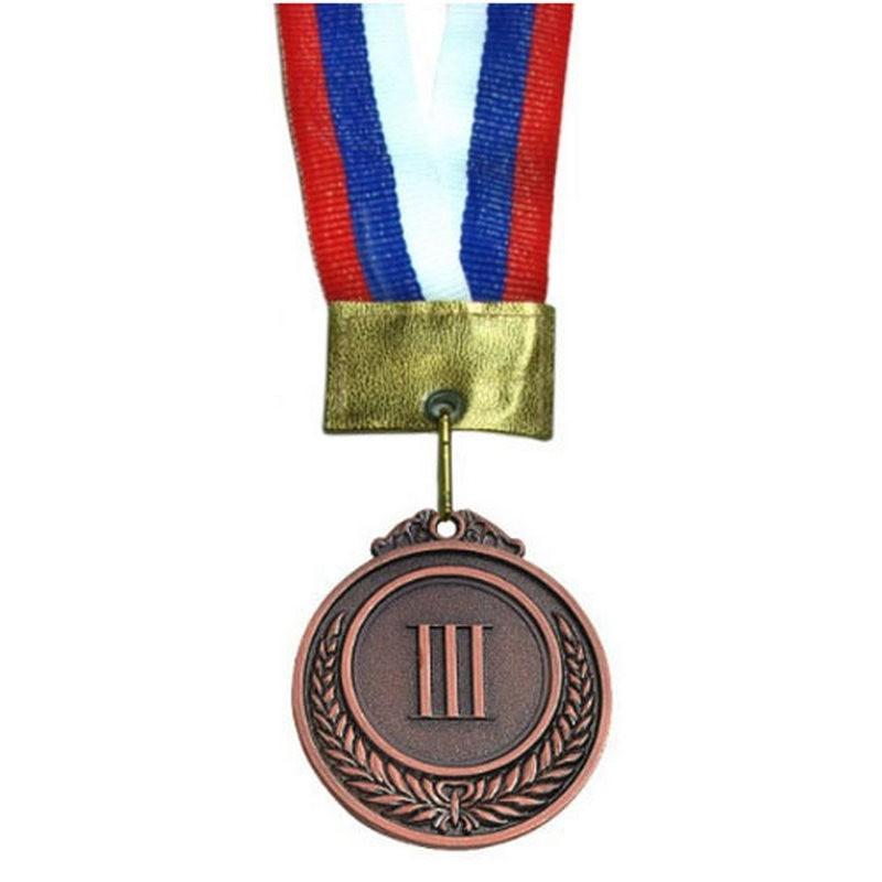 Медаль наградная малая 3-место (римские цифры) (5,3*0,3см, с ленточкой триколор) No.97-3
