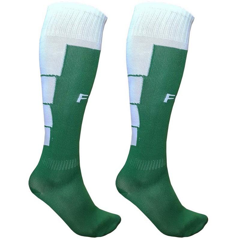 Гетры футбольные для экипировки спортивных команд C33711 зелено-белые