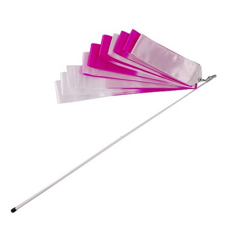 Лента гимнастическая l6м A236-1 белый\розовый