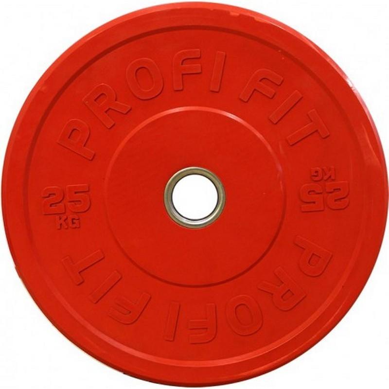 Диск для штанги Profi-Fit каучуковый, цветной, d-51 25кг