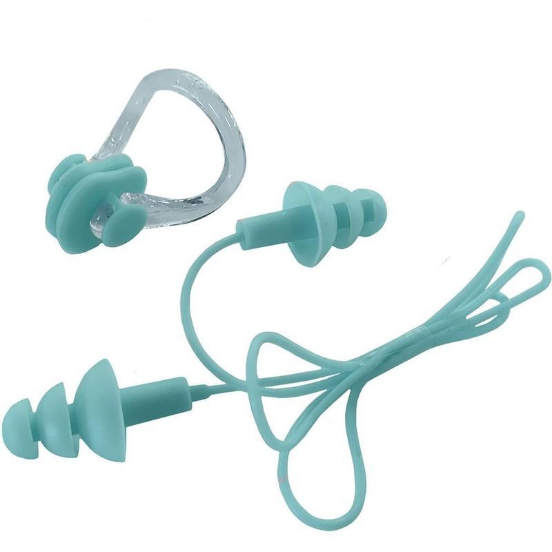 Набор для плавания беруши на шнурке и зажим для носа B31576 голубой